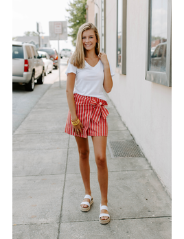 She & Sky Striped Wrap Skirt