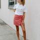 She & Sky Striped Wrap Skirt