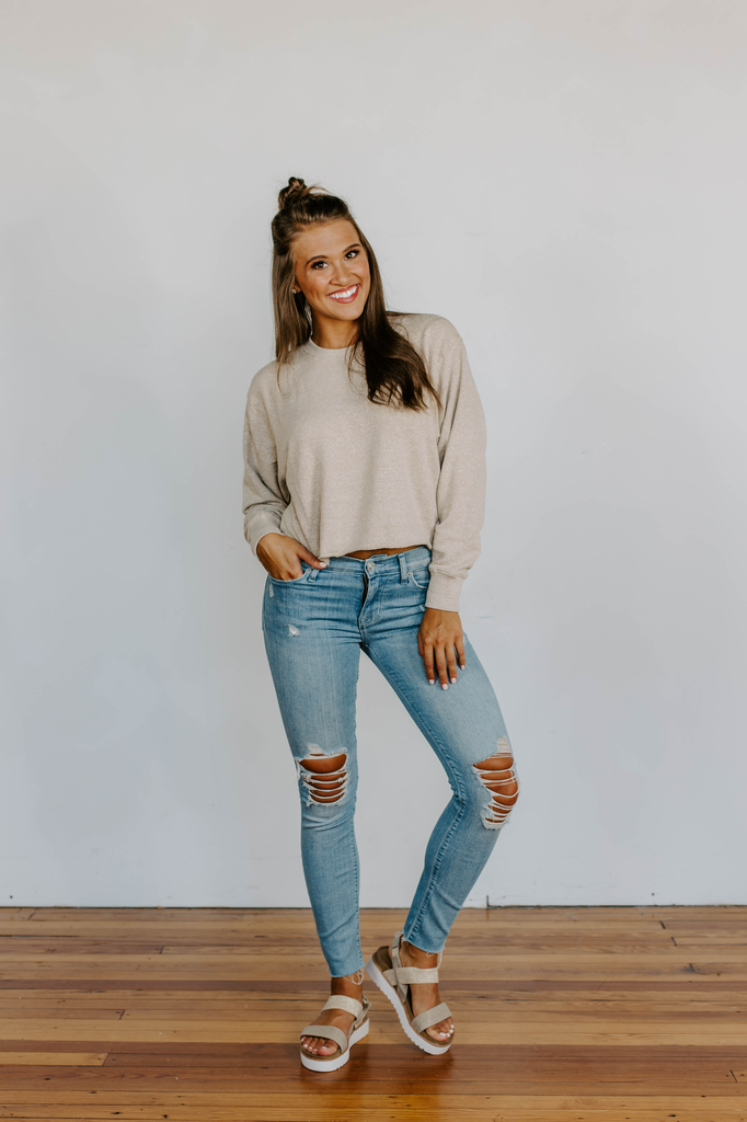 Z Supply The Triblend Long Sleeve Cropped Tee