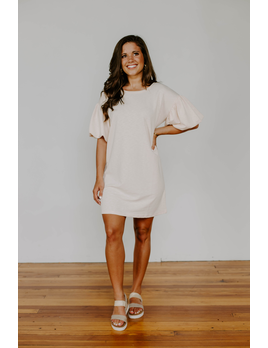 Puff Sleeves Shift Dress