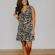Karlie Leopard Tie Shoulder Ruffle Bottom Dress