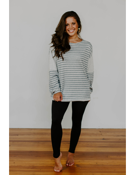 Stripe Blocked Long Sleeve Tee