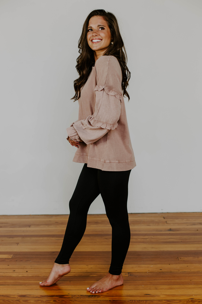 Washed Mini Ruffled Pullover