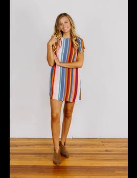Karlie Stripe Shift Dress with Back Zipper