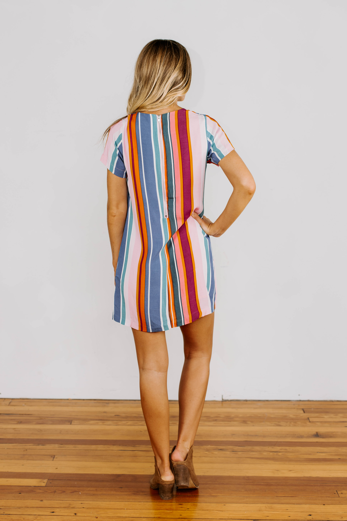 Karlie Stripe Shift Dress with Back Zipper