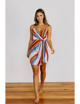 Karlie Stripe Wrap Cami Dress