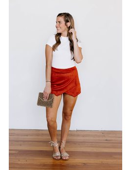 Karlie Brushed Suede Envelope Skort