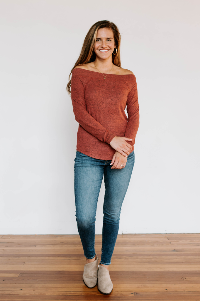 Z Supply The Marled Sweater Knit One Shoulder Top