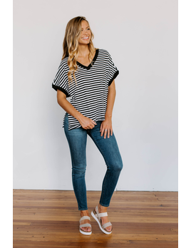 Z Supply The Stripe Boyfriend V-Neck Tee