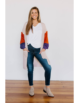 Color Block Sleeve Cardigan