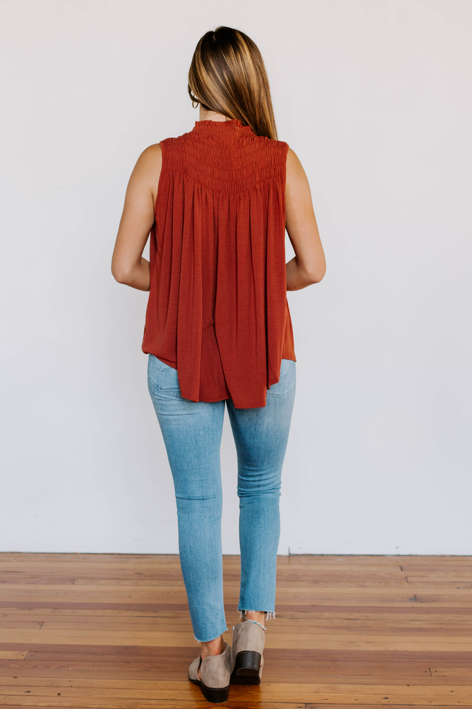 Solid Smock Neck Top