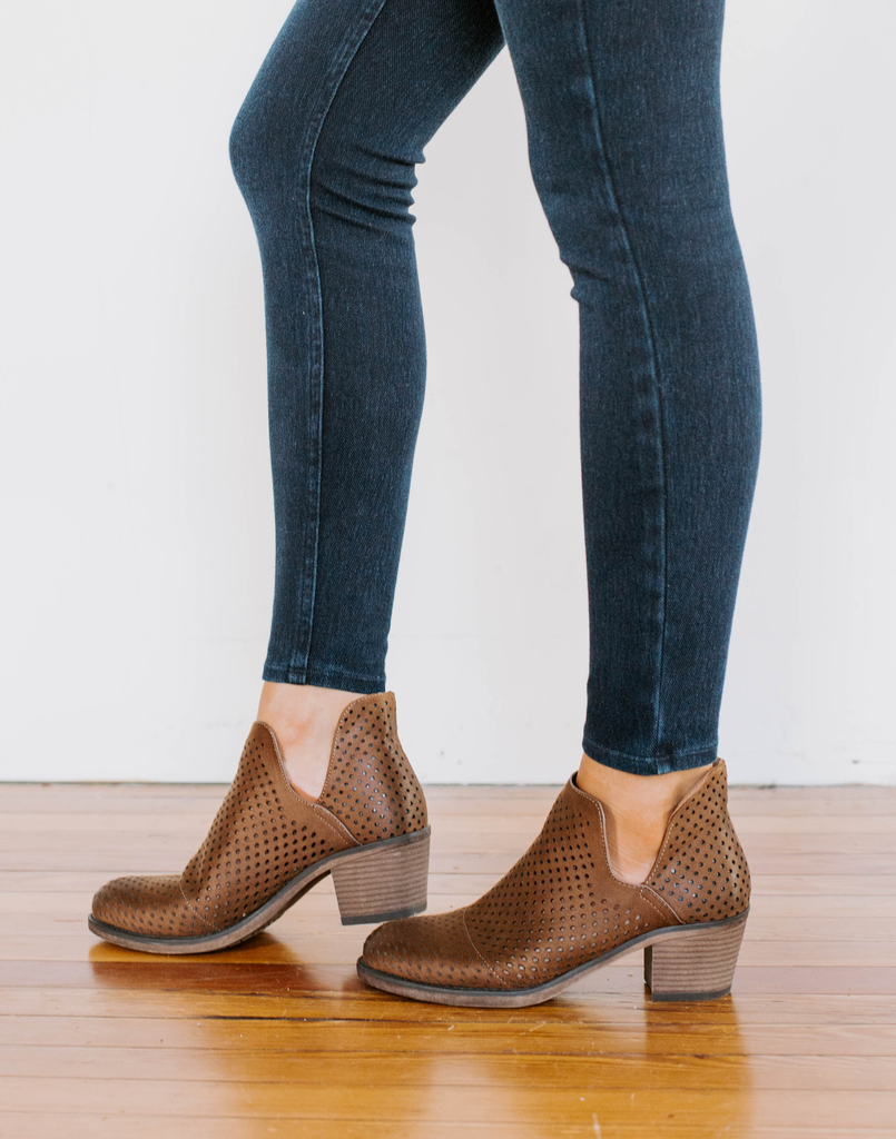 Perforated Split Shaft Ankle Booties