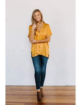 Karlie Solid Satin V-Neck Tunic