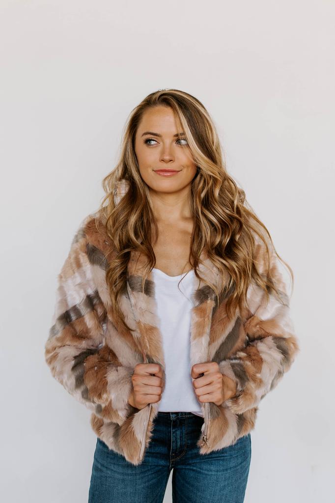 Karlie Stripe Fur Jacket