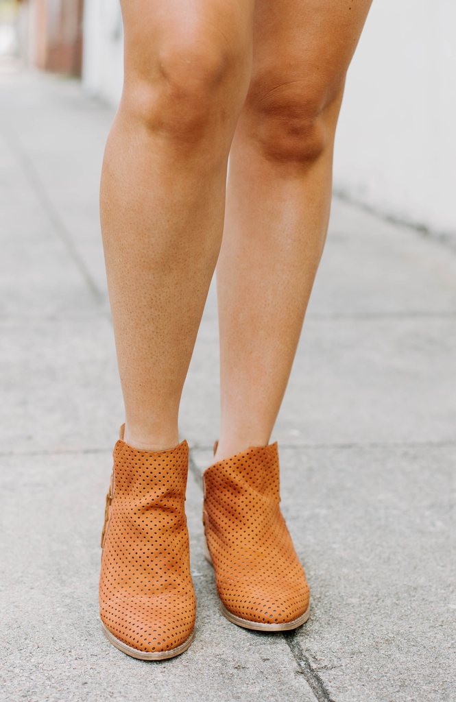 Ariel Perforated Cut Out Ankle Booties