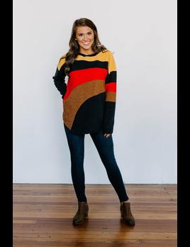 Teddy Color Block Striped Pullover Sweatshirt