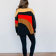 Teddy Color Block Striped Pullover Sweatshirt