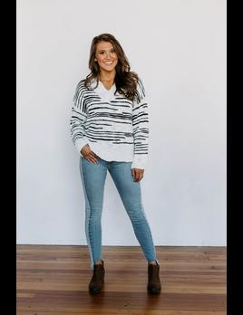 Stripe Pattern Knit Sweater