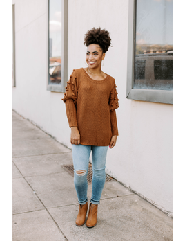 Textured Knit Pom Pom Sweater