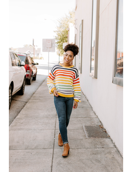 By Together Rainbow Striped Sweater