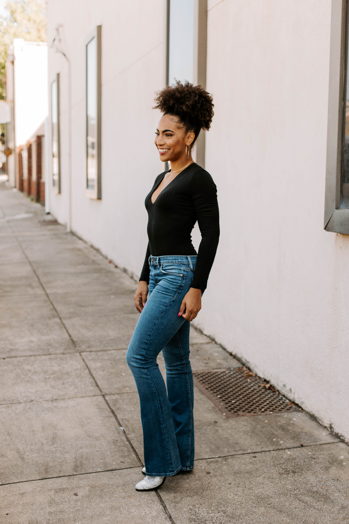 Karlie Knit V-Neck Long Sleeve Bodysuit