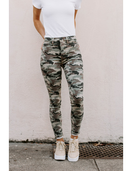 Hudson Barbara High-Rise Super Skinny Ankle Jean in Worn Camo