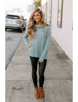 Brushed Waffle Cowl Neck Top
