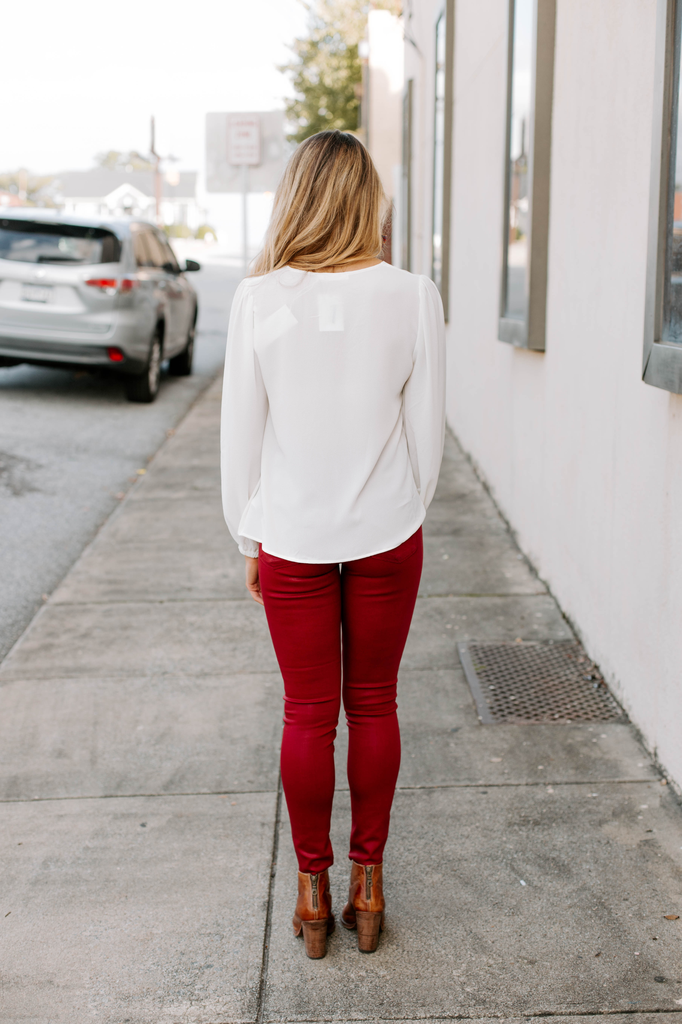 Draped Puffed Shoulder Blouse