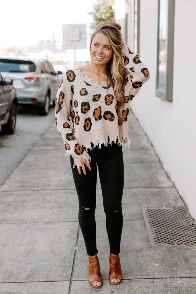 Karlie Leopard Distressed Sweater
