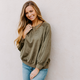 She & Sky Faux Suede Top with Rib Knit Waistband