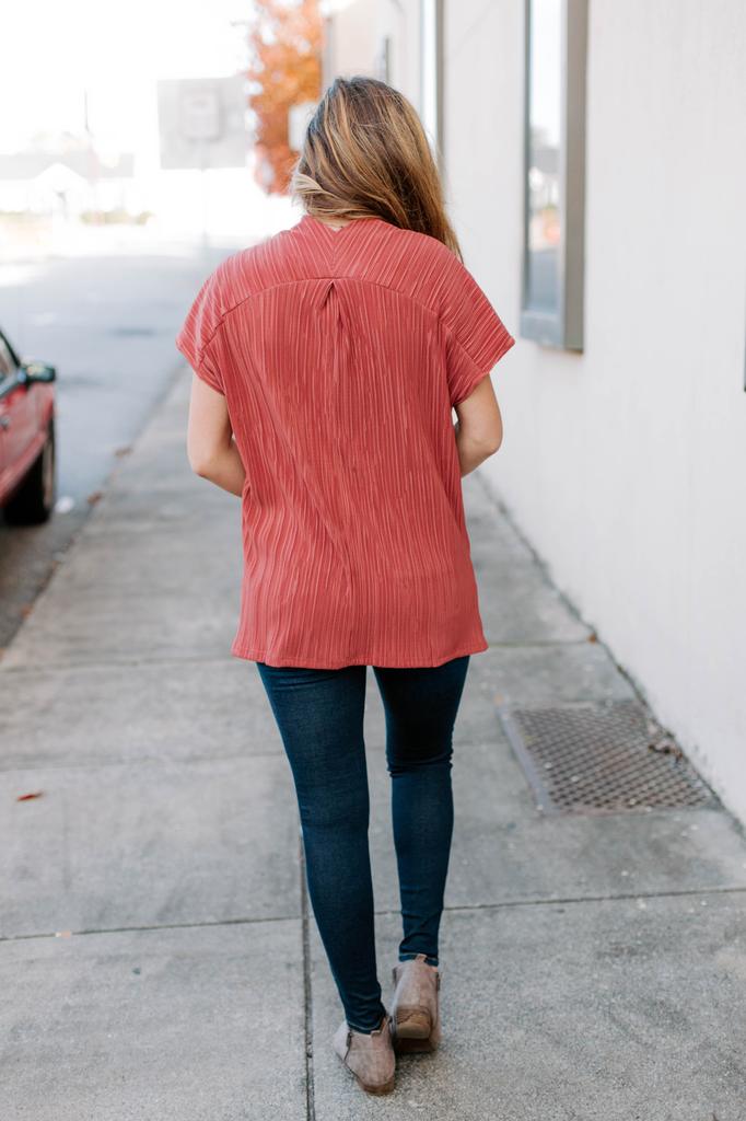 Karlie Solid Krinkle V-Neck Tunic