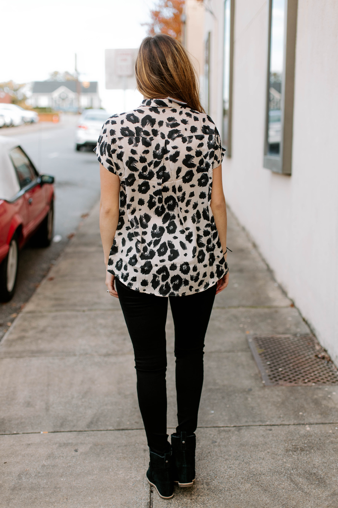 Karlie Leopard Utility Button Up Top
