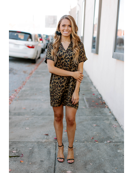 Karlie Leopard V-Neck Dress