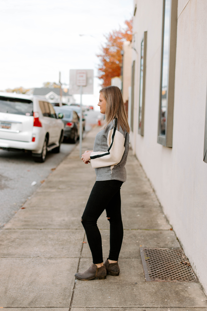 THML Colorblocked Ribbed Sweater