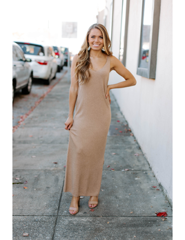 Karlie Solid Sweater Tank Midi Dress