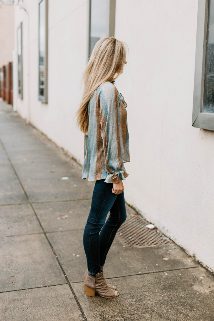 Karlie Metallic Stripe Smock Neck Top