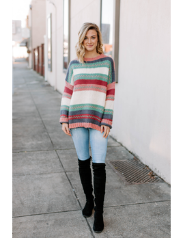 Ces Femme Multi Striped Oversized Sweater