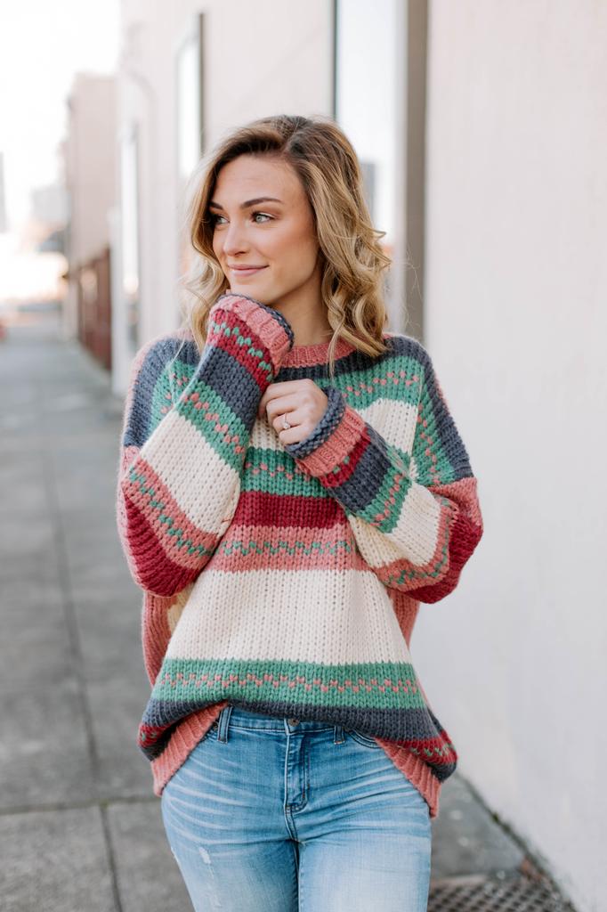 Ces Femme Multi Striped Oversized Sweater
