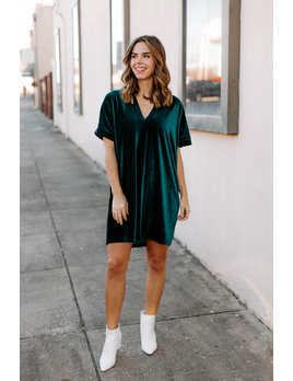 Karlie Solid Velvet V-Neck Dress