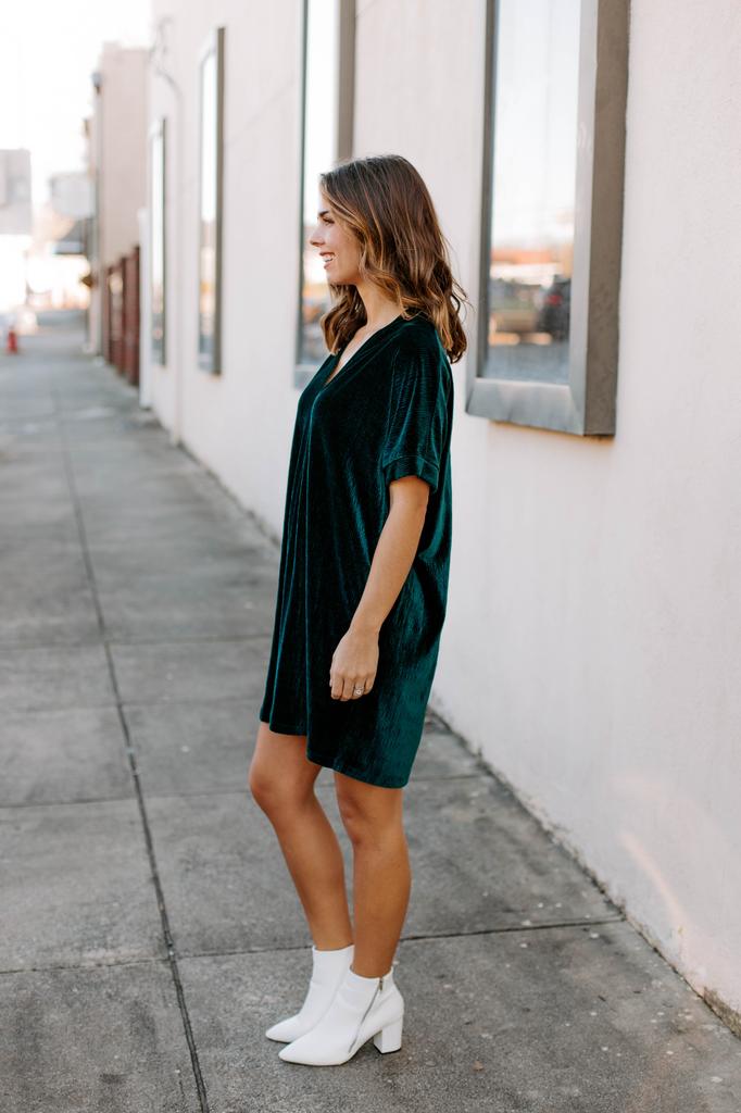 Karlie Solid Velvet V-Neck Dress