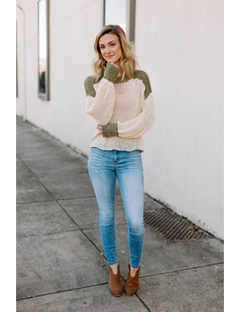 All in Favor Color Block Open Knit Sweater