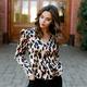 Karlie Leopard V-Neck Puff Sleeve Top
