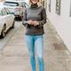 THML Cowl Neck Fringe Sweater