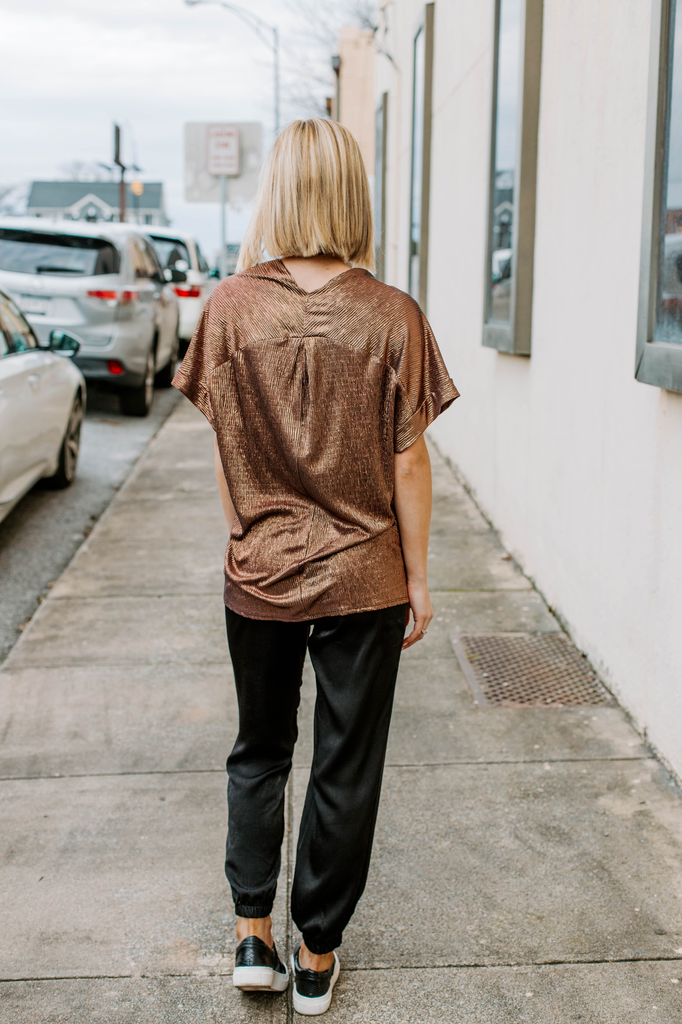 Karlie Metallic V-Neck Top