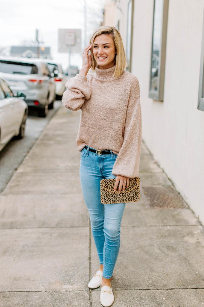 Balloon Sleeve Turtleneck Sweater