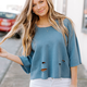 Karlie Mineral Wash Distressed Sweatshirt
