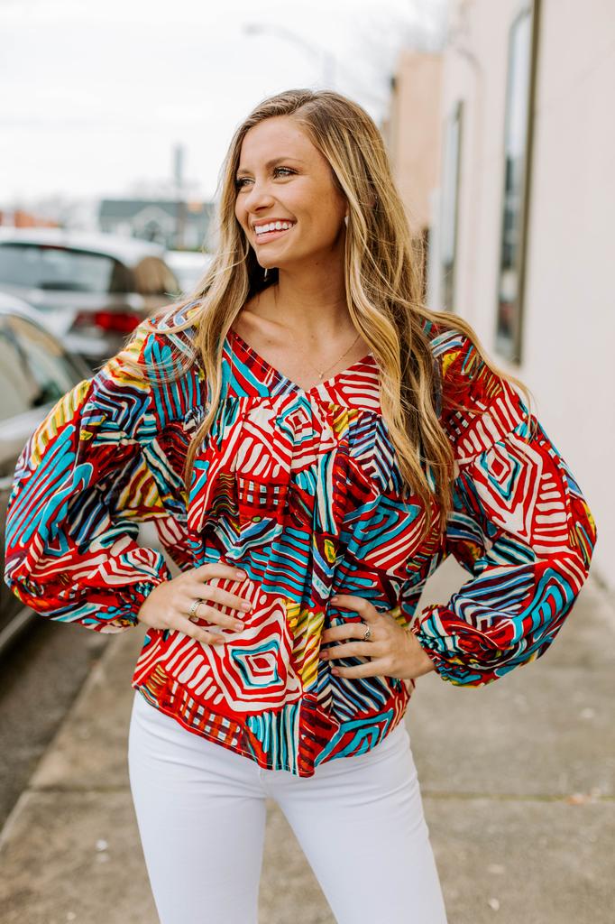 Ces Femme Multi Color Geo Printed Blouse