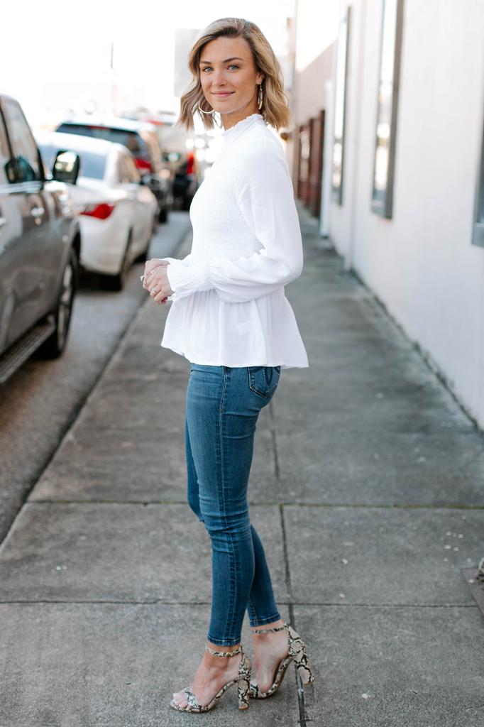 Karlie Solid Smock Long Sleeve Top