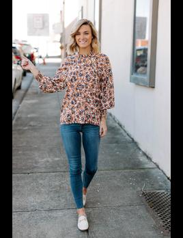Karlie Leopard Satin Pull Sleeve Top
