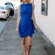 Karlie Solid Drape Neck Wrap Dress